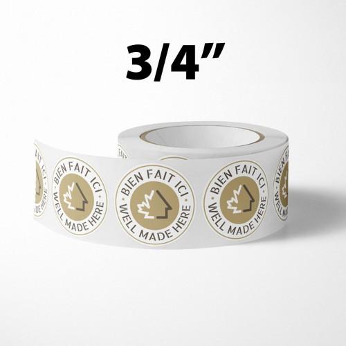 "Packs of 5 000 Self-Adhesive Labels - 3/4"" diameter - FR logo on top"