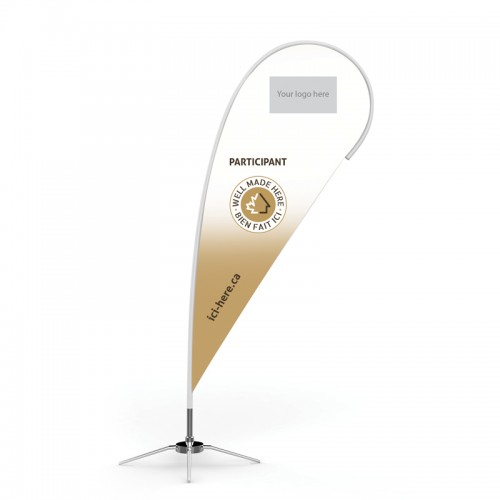 10' Beach Wing Banner Personalized with your Logo - EN logo on top