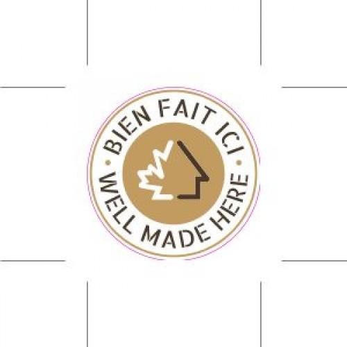 Packs of 50 opaque labels - 5'' diameter - FR logo on top