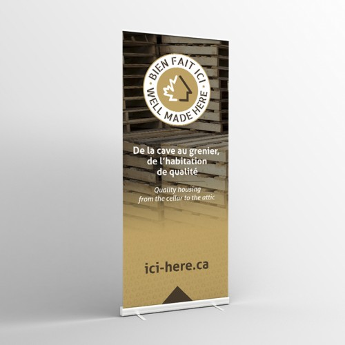 33'' x 78'' Floor Banner with Roll-Up Mechanism - FR Version